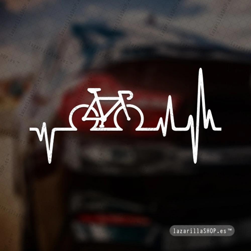 Intervic Pegatina Electro Cardio Cardiomoto Bici Sticker Vinilo Para El Casco Coche Moto Btt Bike Van Portatil ciclismo bicicleta BLANCO