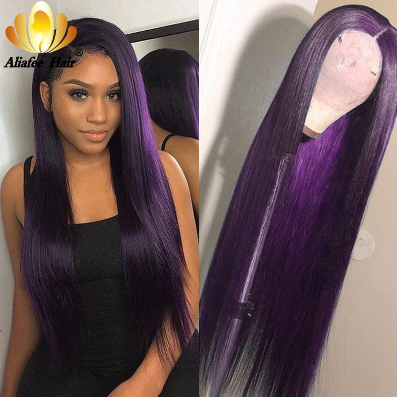 Aliafee 13x6 Straight Wig Human Hair Lace Front Wigs Color Dark Purple 150% Peruvian Remy Hair Wigs Pre Plucked For Women
