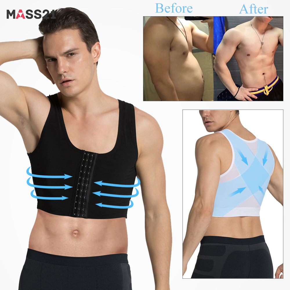 MASS21Men Shapewear Controle Gynaecomastie Body Shaper Vest Tops Sexy Mannen Houding Corrector Compressie Shirt Borst Trainer Corset