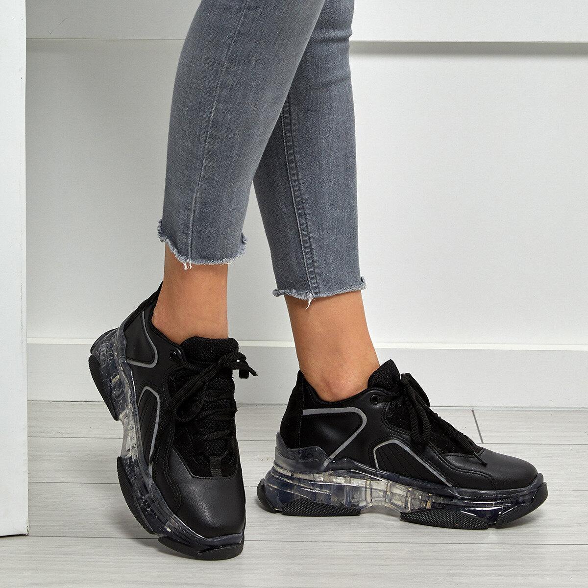 FLO Women Sneaker Women Transparent Casual Shoes Fashion Women Sneakers Breathable Walking Shoes Lace Up Flat Shoes BUTIGO VALESSA
