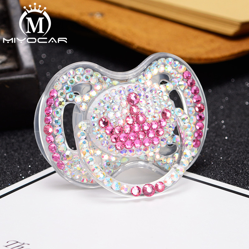 Купить с кэшбэком MIYOCAR Bling Bling beautiful handmade safe PP Feeding Bottle and bling bling crown pacifier for baby shower gift