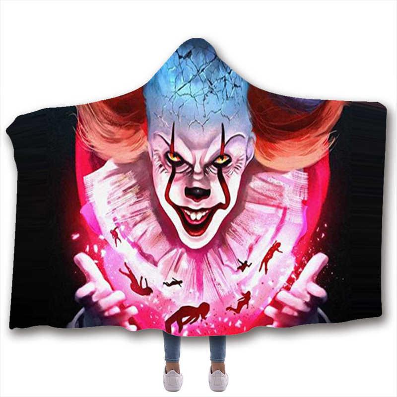 アニメホラーピエロジョーカープリントぬいぐるみ付きブランケット大人のための子供暖かいホームソファウェアラブル二重層フリーススロー毛布