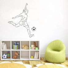 Kicking Soccer Girl Player Wall Sticker Decal Soccer  Sports Sticker Home Livingroom Wall Art Decoration A0068414 3d soccer player and goal wall art sticker decal