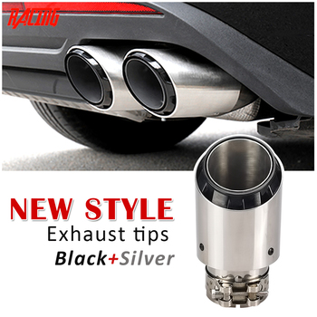 The new cool style design stainless steel  silver + plated black modified car muffler exhaust pipe tailtips