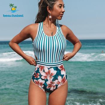 2020 New Beachsissi Hot Sale Stripe And Flower Print Back Tie One Piece Swimwear Women Summer Swimsuit Girl Beach Bathing Suits
