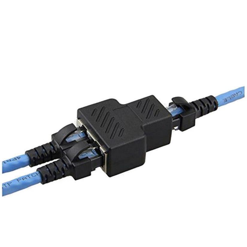 Kphrtek 1PC RJ45 Splitter Adapter 1 To 2 Ways Dual Female Port CAT5/6/7 LAN Ethernet Cable