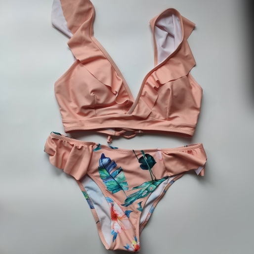 Sexy Bikini 2020 New Print Floral Swimwear Women Lace Up Low Waist Bikinis Set Push Up Brazilian Swimsuit Ruffle Bathing Suit L Bikini Set    - AliExpress