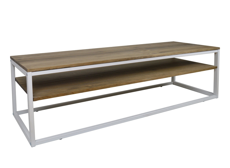 Table TV ICub With Shelf-100X40X47 Cm-Vintage Effect-White-18mm