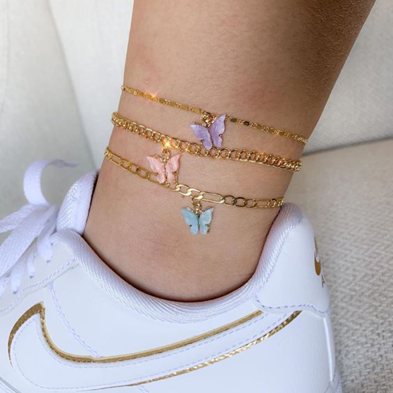 Butterfly Anklets For Woman Bohemian Butterfly Pendant Anklets Gold Color Figaro Chain Ankle Bracelet on leg 2020 Foot Jewelry