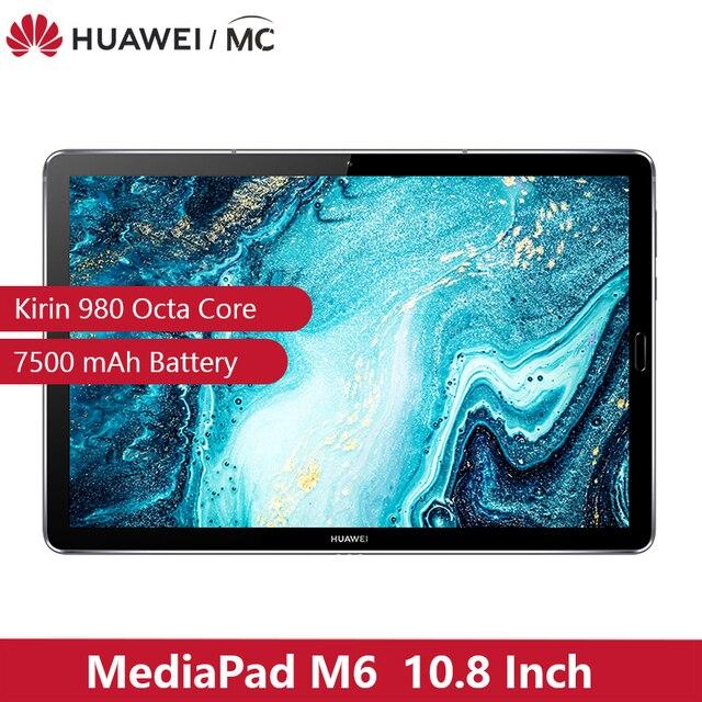 "Original HUAWEI MediaPad M6 10.8 ""Kirin 980 Octa Core Android 9.0 tablette type c 7500mAh 2560x1600 empreinte digitale IPS écran"