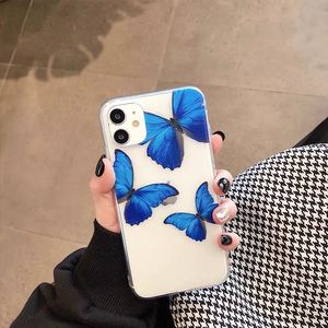 Image 3 - Cute Blue Butterflies Clear Phone Case for iPhone  11 Pro Max Xs XR  X 6 6s7 8 Plus Case soft tpu back cover case