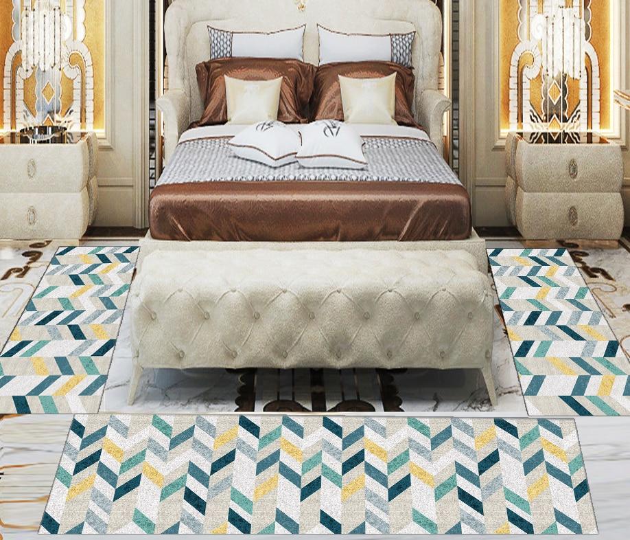Else 3 Piece Yellow Green Blue Geometric 3d Print Non Slip Microfiber Washable Decor Bedroom Hallway Area Rug Carpet Set