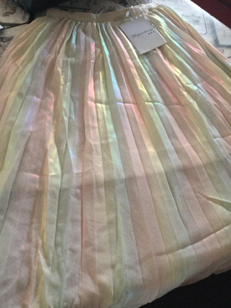 Autumn  Arrival Korean Style Rainbow Laser Design Sense Gradient Chiffon Skirt Vintage Pleated Skirt photo review