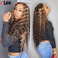 Парик Ali Lee с глубокой кудрявой кружевной передней частью, красивые светлые волосы с эффектом омбре, 180% натуральные волосы на сетке спереди, ...