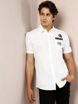 Colins Men regularny krój białe koszulki z krótkim rękawem dla mężczyzn koszula męska koszula męska CL1027527 tanie i dobre opinie COTTON Other