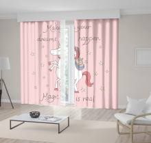 "Make Your Dream Happen Magic Is Real ""Stylish Unicorn Stars and Hand Written Text Fun Pink Black White art kids Curtain()"