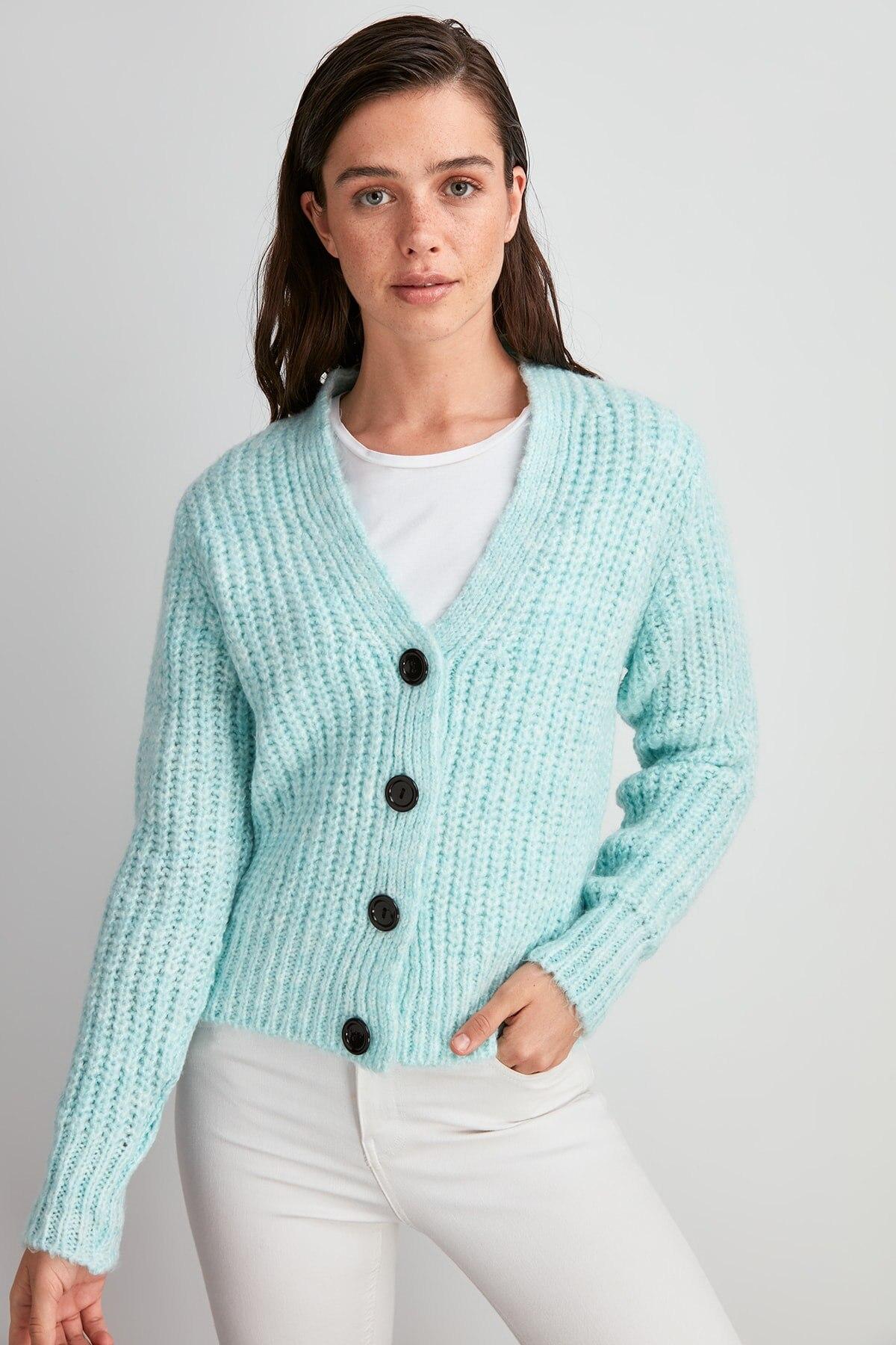 Trendyol Mesh Detailed Sweater Cardigan TWOAW20HI0214