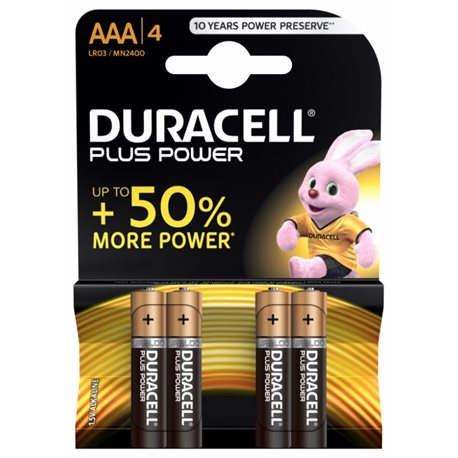 ALKALINE Battery LR03 AAA 1,5V POWER PLUS DURACELL 4 PZ
