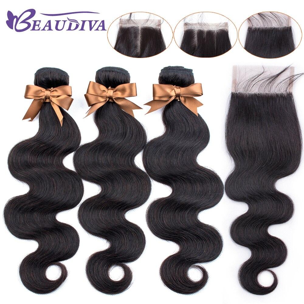 U9ebe8d4ce6c949be8d8887c6ed802f08n BEAUDIVA Brazilian Hair Body Wave 3 Bundles With Closure Human Hair Bundles With Closure Lace Closure Remy Human Hair Extension