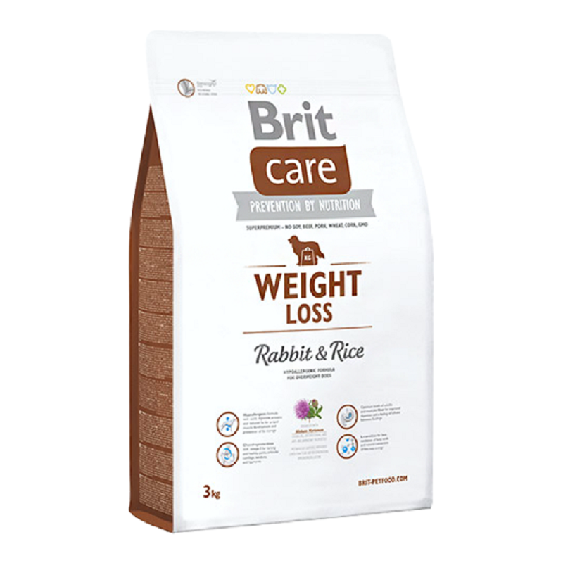 Brit Care Weight Loss Hypoallergenic Diet Dog Food With Rabbit & Rice 3 Kg Food Healthy Growth Feeding Pet