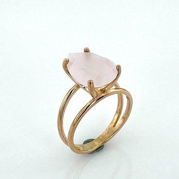 Pink Quartz Drop Stone Italian Special Design Silver Ring
