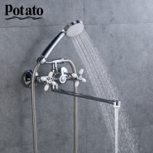 Potato 5 colors Bathroom Shower Set Hot Cold and Water Wall Mounted Mixer Shower Faucet Tap Chrome  Bathtub Shower Crane p2771-