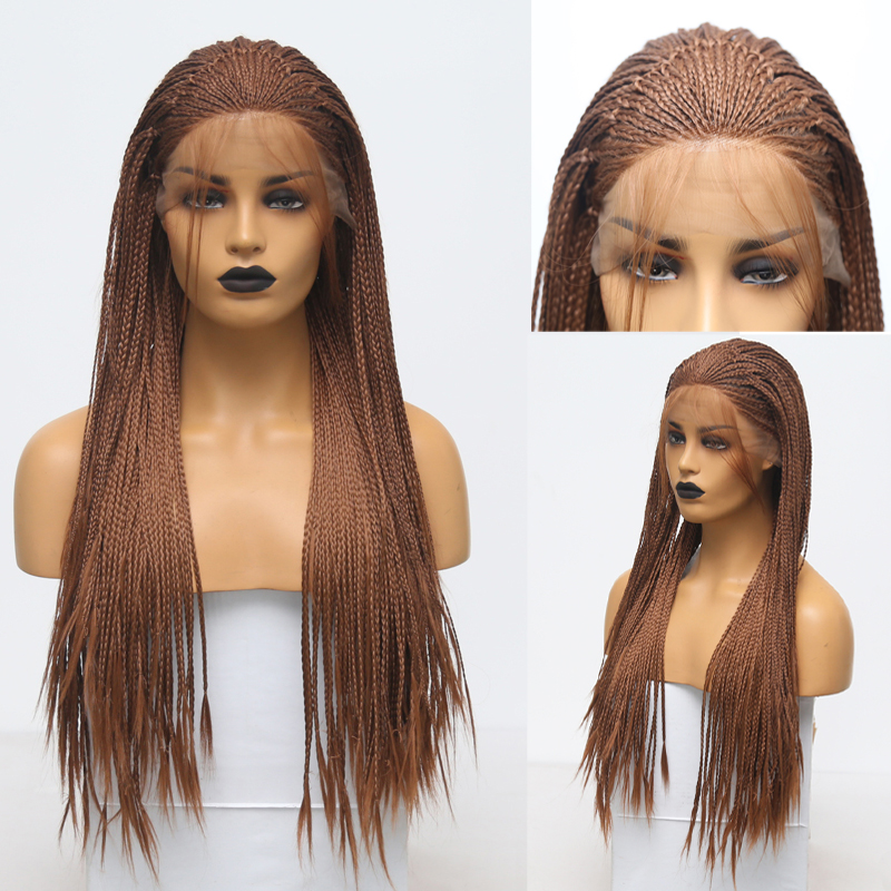 RONGDUOYI Long Ash Blonde Wigs Braided Box Braids Wig Synthetic Lace Front Wig Heat Resistant Fiber Hair Lace Wigs For Women