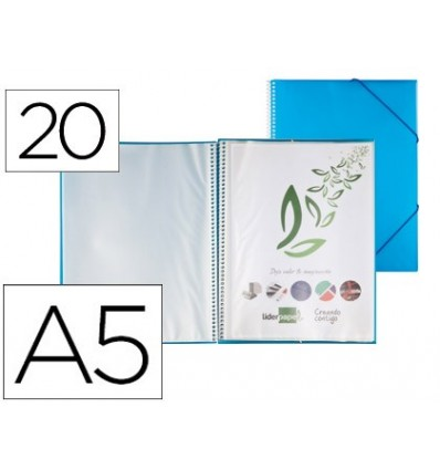 WALLET LEADERPAPER SHOWCASE WITH SPIRAL 20 CASES POLYPROPYLENE DIN A5 BLUE