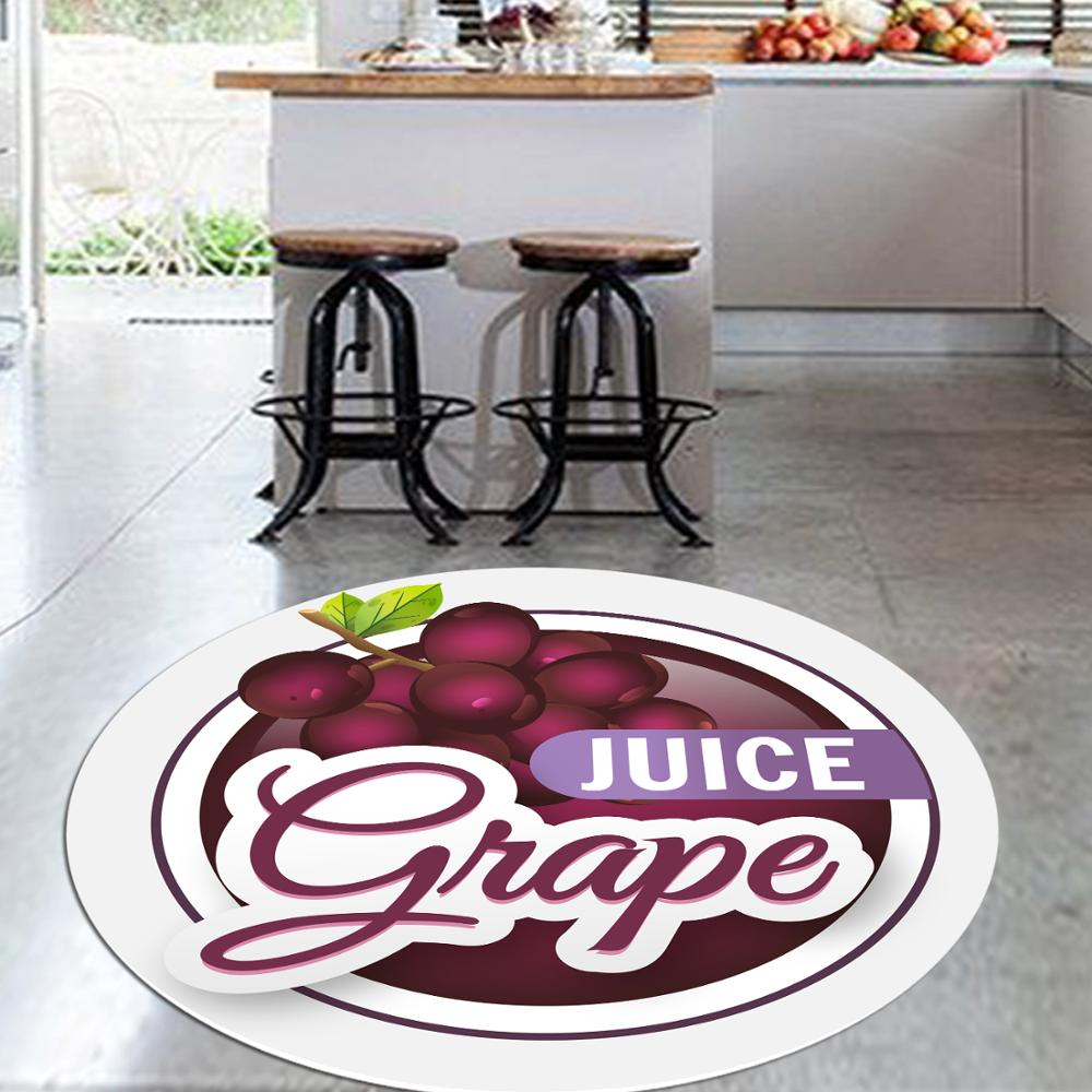 Else Red Grapes Fresh Fruits 3d Pattern Print Anti Slip Back Round Kitchen Carpets Area Rug For Living Rooms