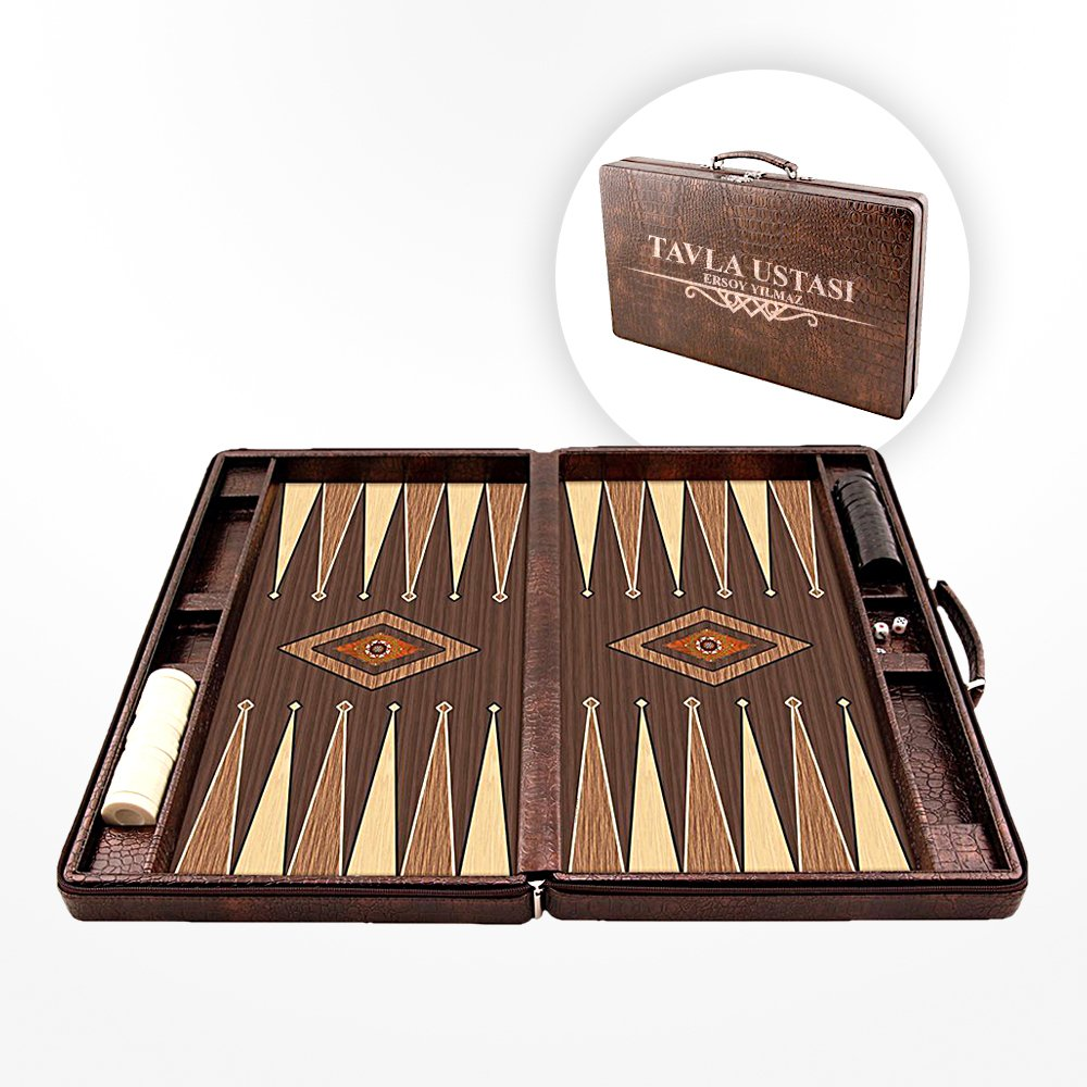 Personalized Leather Bag Backgammon Set