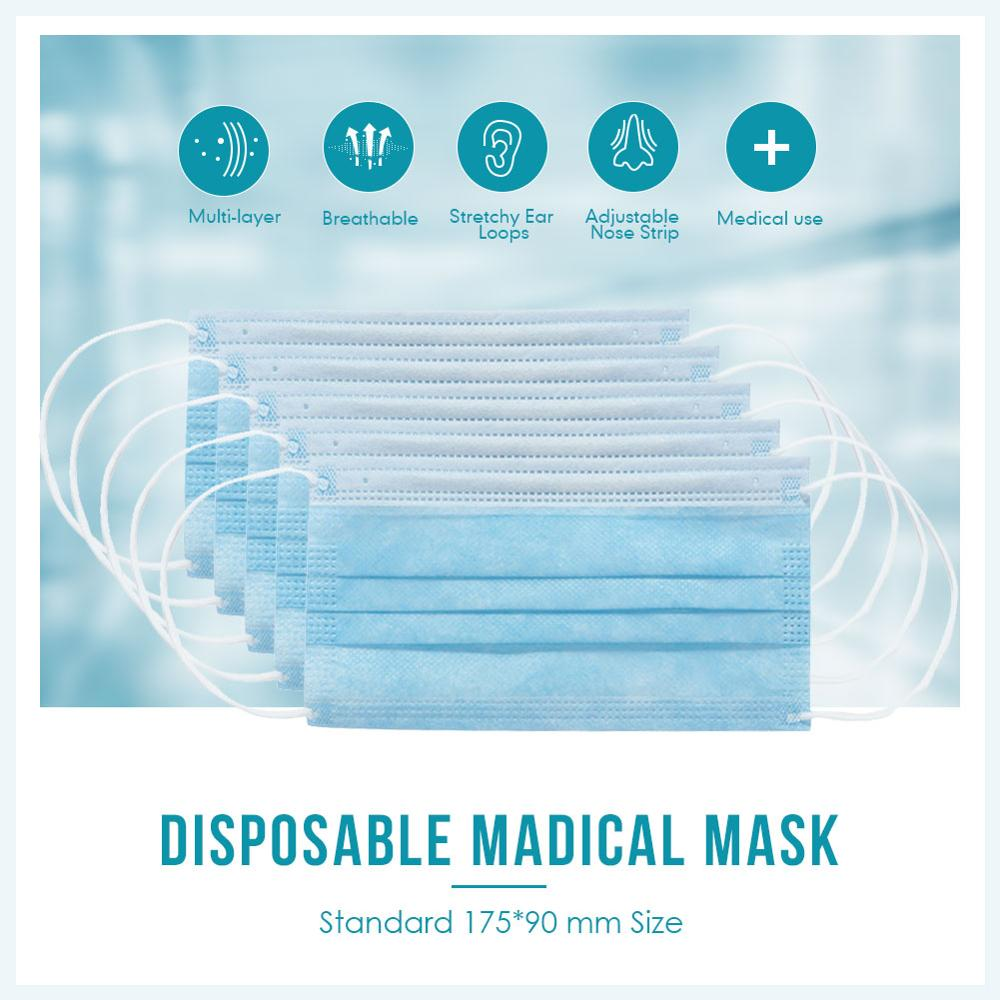 Maske Anti-Pollution 3 Laye Mask Dust Protection Mask Disposable Face Masks Elastic Ear Loop Disposable Dust Filter Safety