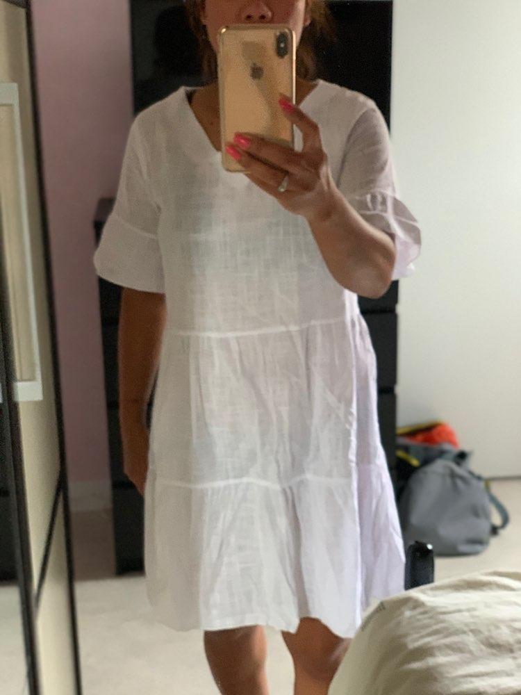 2019 Summer Beachwear Deep V Necek Short Sleeve White Ruffled A-line Mini Dress Women Dress Sexy Dress reviews №1 28209