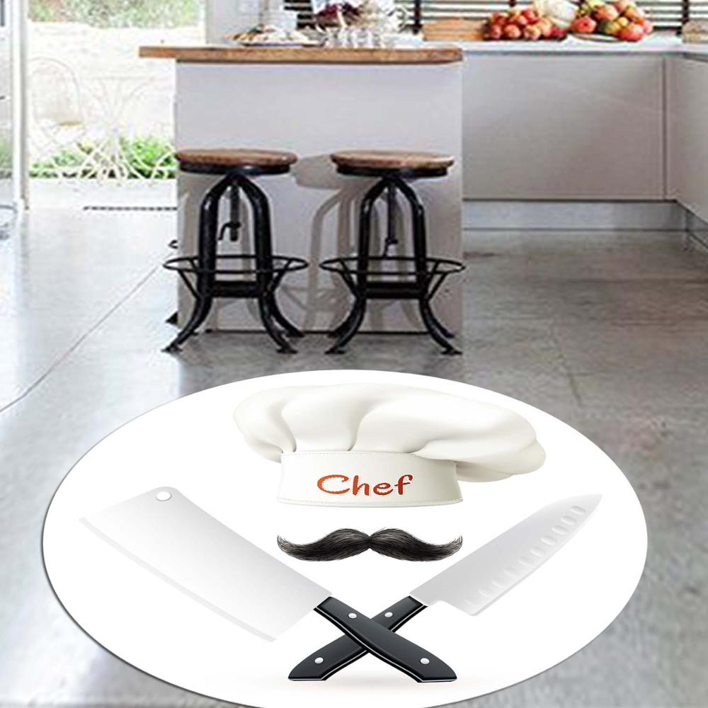 Else Black White Chef Knives 3d Pattern Print Anti Slip Back Round Kitchen Carpets Area Rug For Living Rooms
