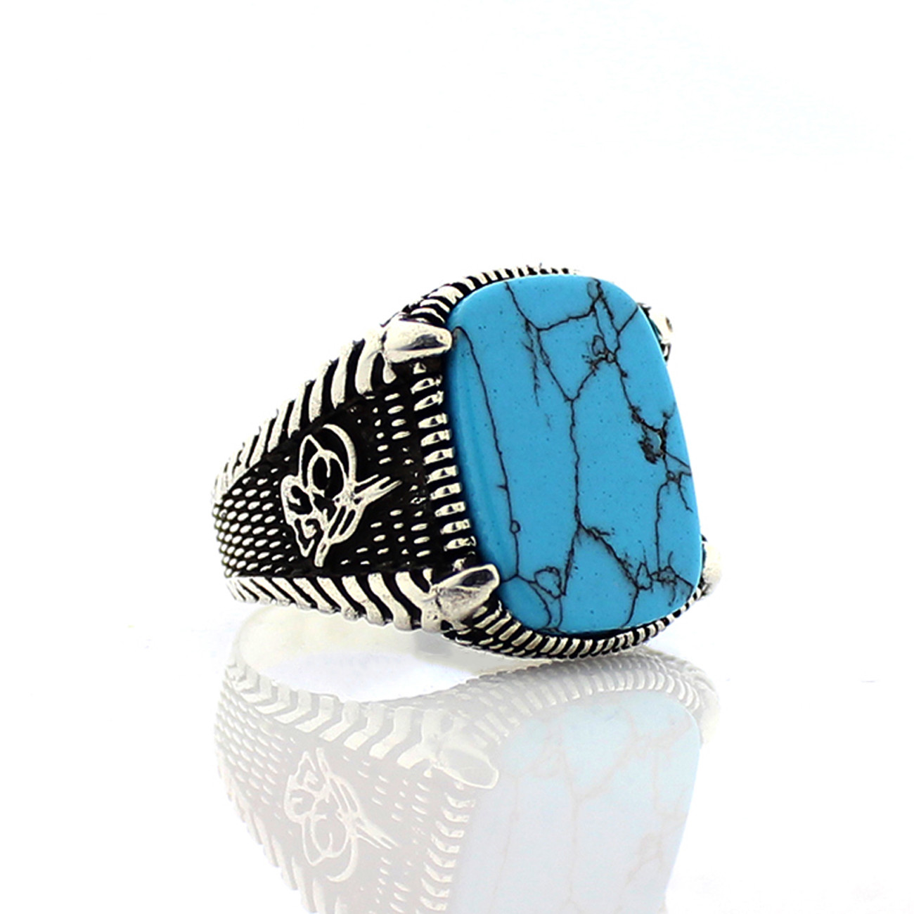 925 Sterling Silver Ring For Men With Feroza Stone (Made In Turkey)