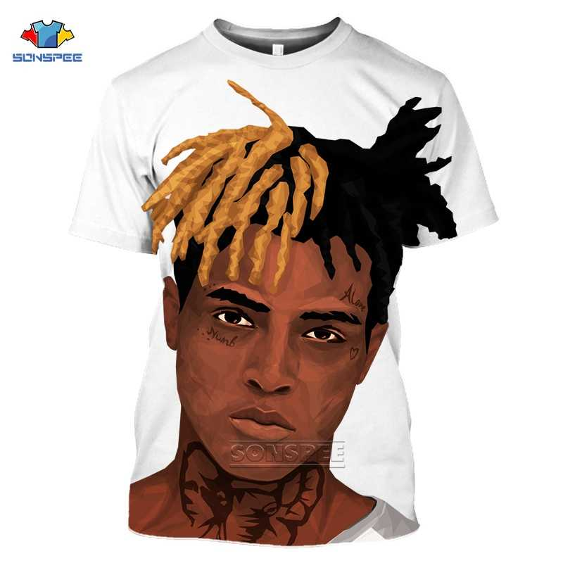 SONSPEE 새로운 3D Xxxtentacion T 셔츠 남성/여성 패션 Streetwear 힙합 스타일 랩퍼 Xxxtentacion 3D 인쇄 망 T 셔츠 탑 G83