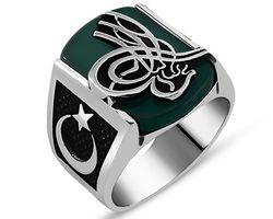 925 sterling Silber Grün Achat Stein Tuğralı Ring