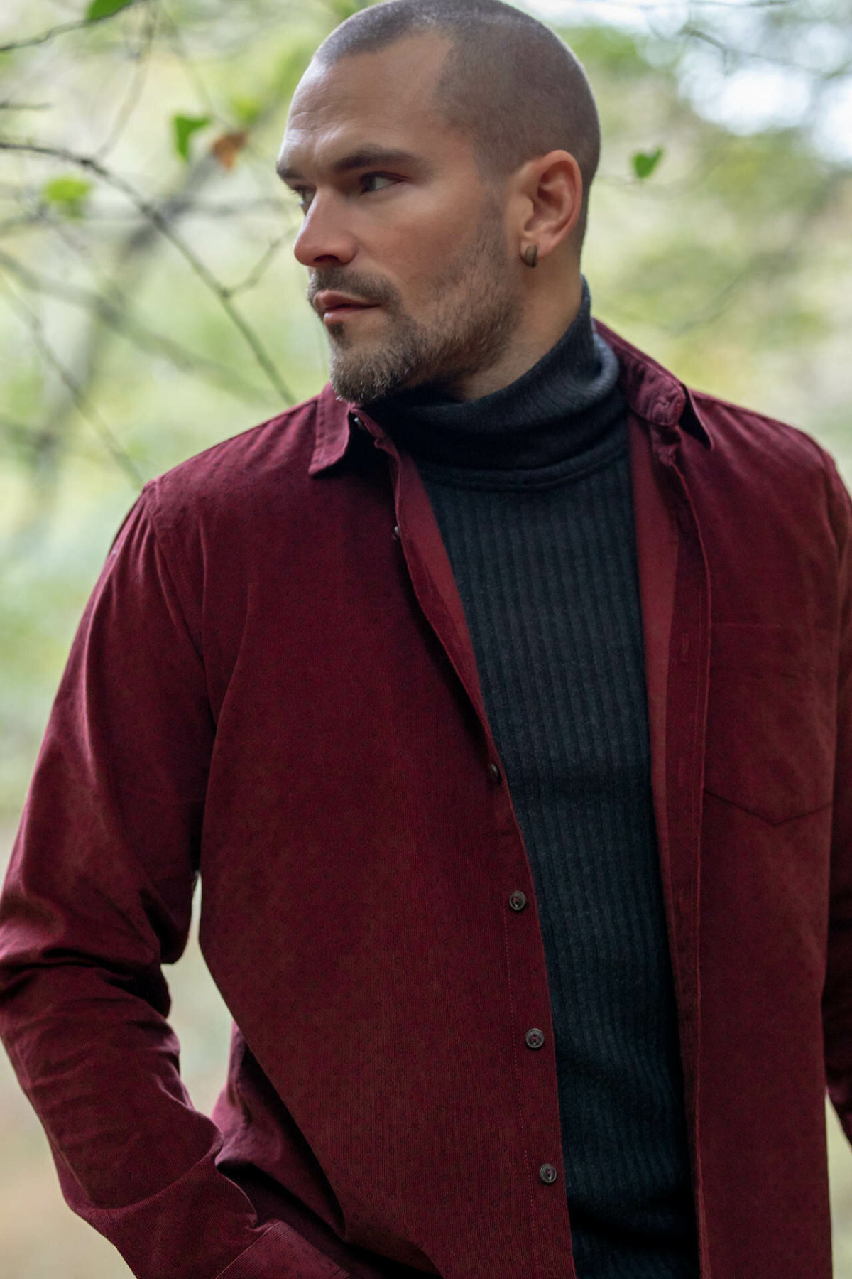 DeFacto Man Long Sleeve Wine Red Shirt Fashion Turn-down Collar Men Casual Top Shirts Best Selling-J1158AZ18WN
