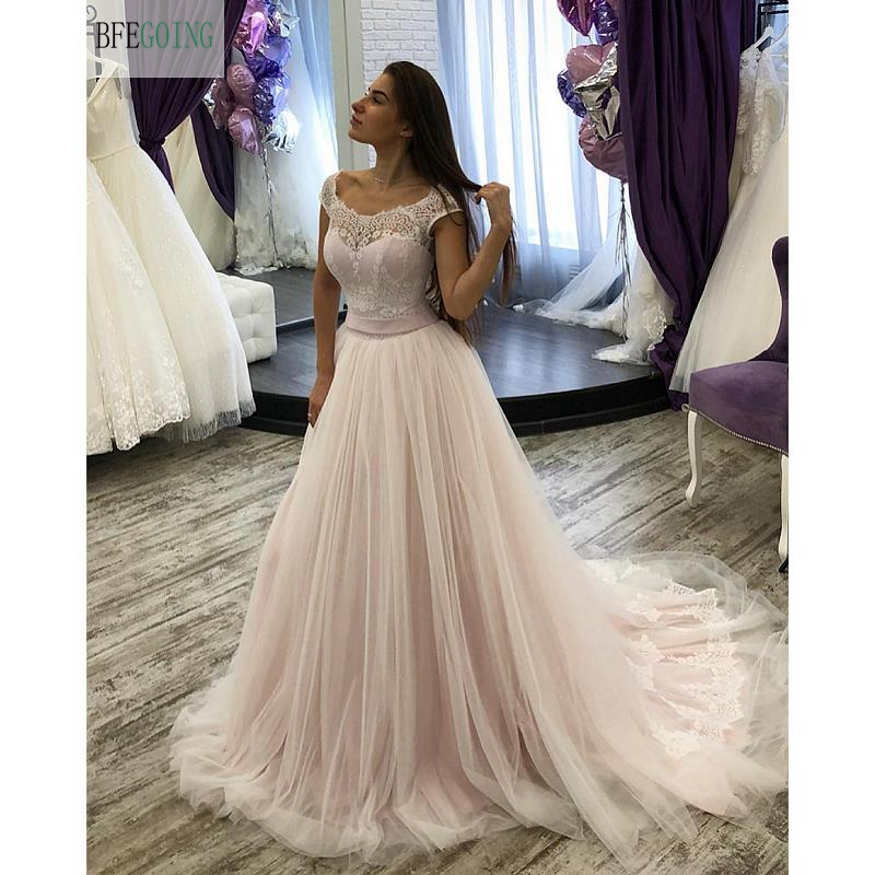 Tulle Lace Scoop Sleeveless Floor -Length A-line Wedding Gown Chapel Train  Bridal Dress Custom Made