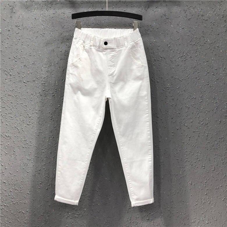 2020 Spring Women Ankle-length Pants Plus Size Solid Cotton Denim Loose Harem Pants White Black Elastic Waist Jeans
