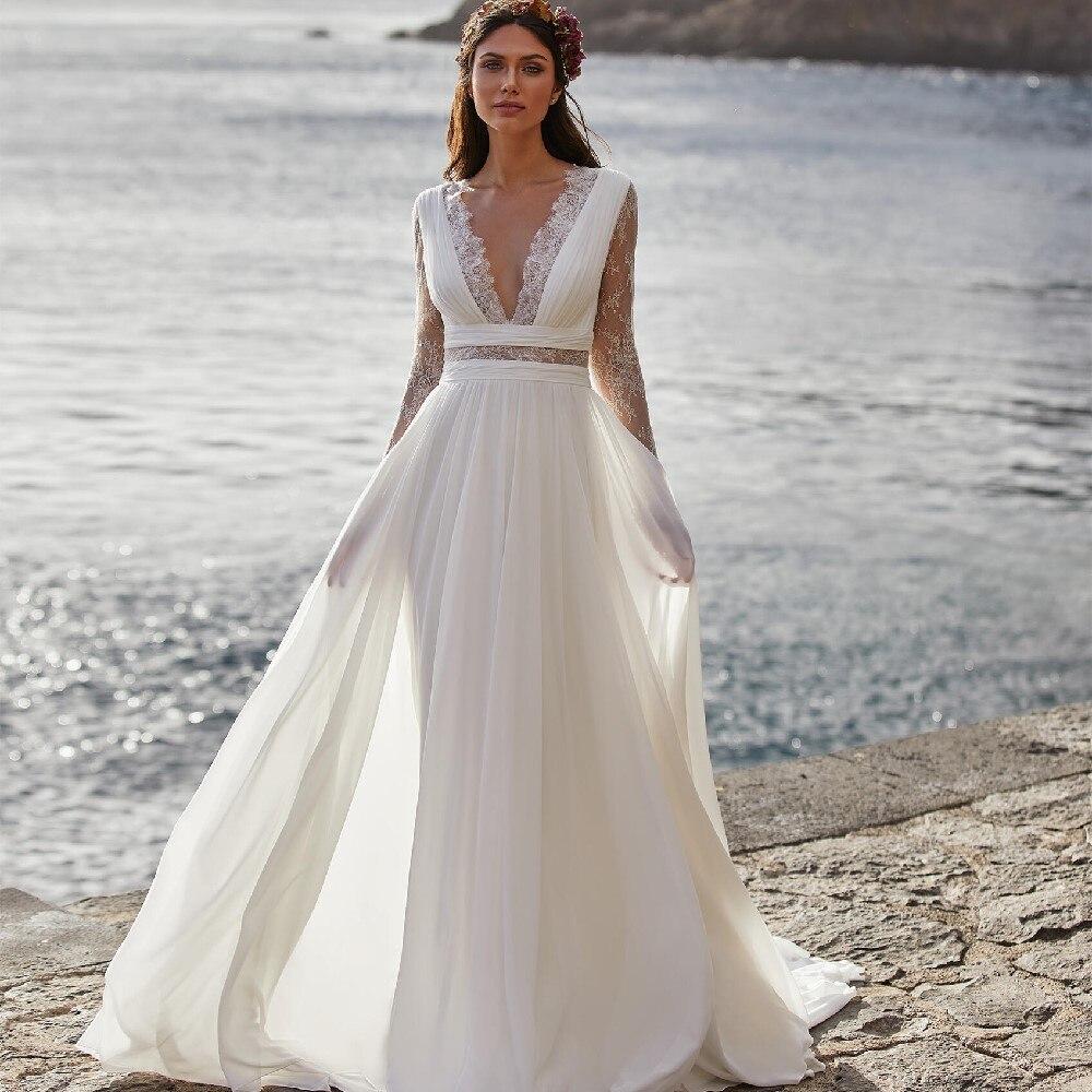 Женское богемное свадебное платье шифоновое трапеция до пола с длинным рукавом и