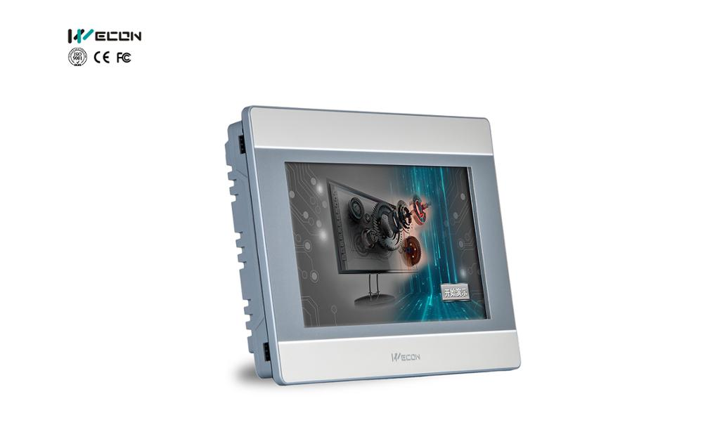 WECON LEVI2070D CPU 32-bits  300MHz RISC, 128M FLASH, 128M DDRAM, 800×480 TFT LCD, COM1:RS485/RS422;  COM2:RS232,USB HOST/DEVICE