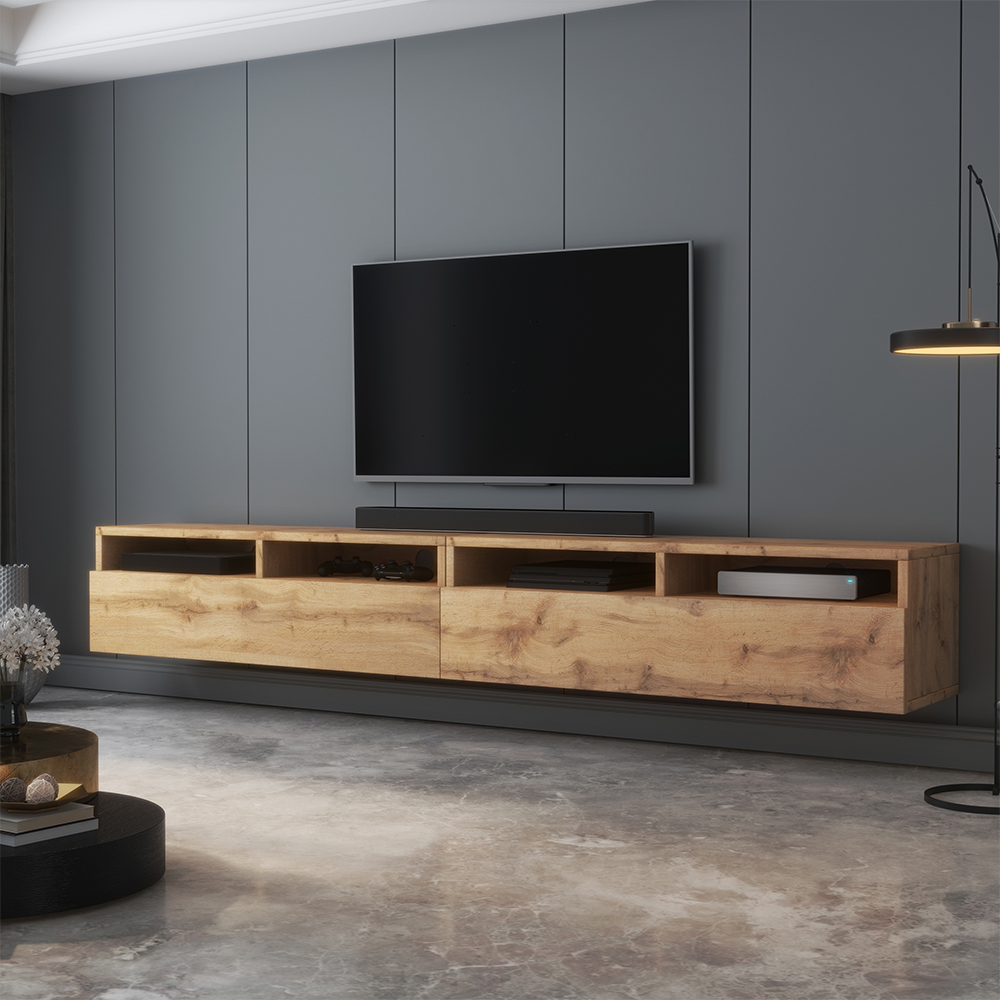 selsey rednaw modern tv stand tv cabinet with 2 drawers 200 cm