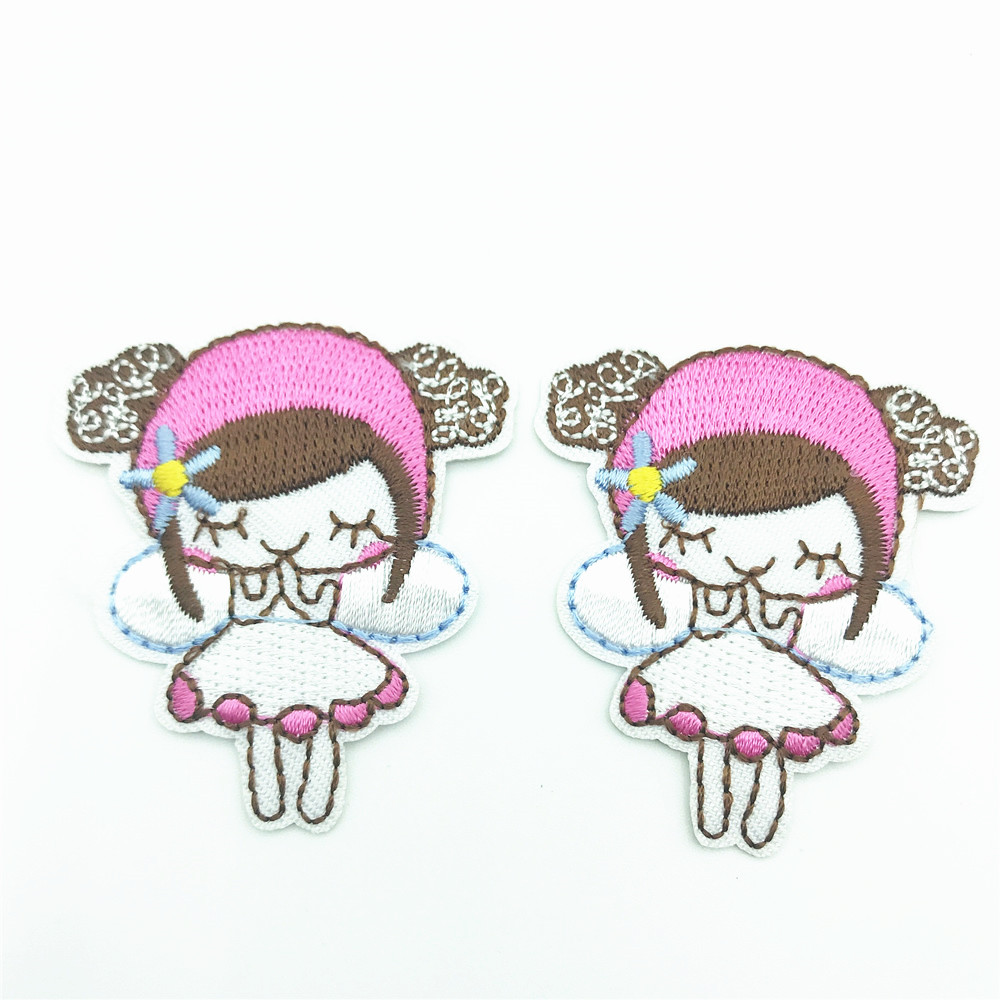 100pcs Cartoon Little Girl Patches Embroidered Iron On Stickers for Kids Jeans Pants Coats DIY Appliques Garments Accessories in Patches from Home Garden