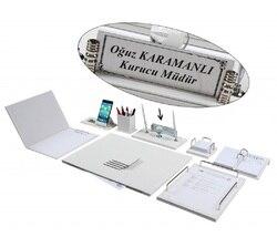 Нева 12 шт. полный набор роскошный белый кожаный стол набор/стол Pad набор с именной табличкой табличка тег главный Органайзер