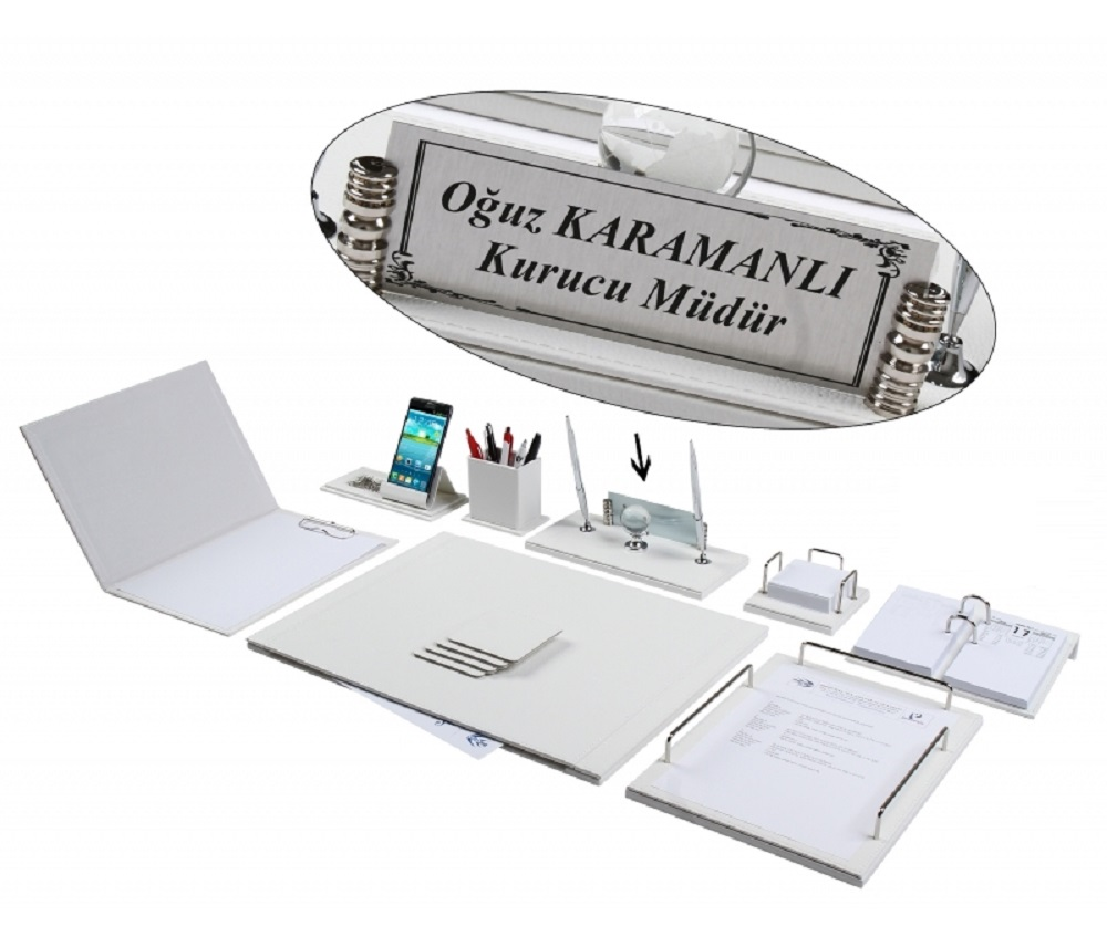 NEVA 12 Pieces Full Set Luxury White Leather Desk Set/Desk Pad Set With Name Plate Nameplate Tag Chief Organizer