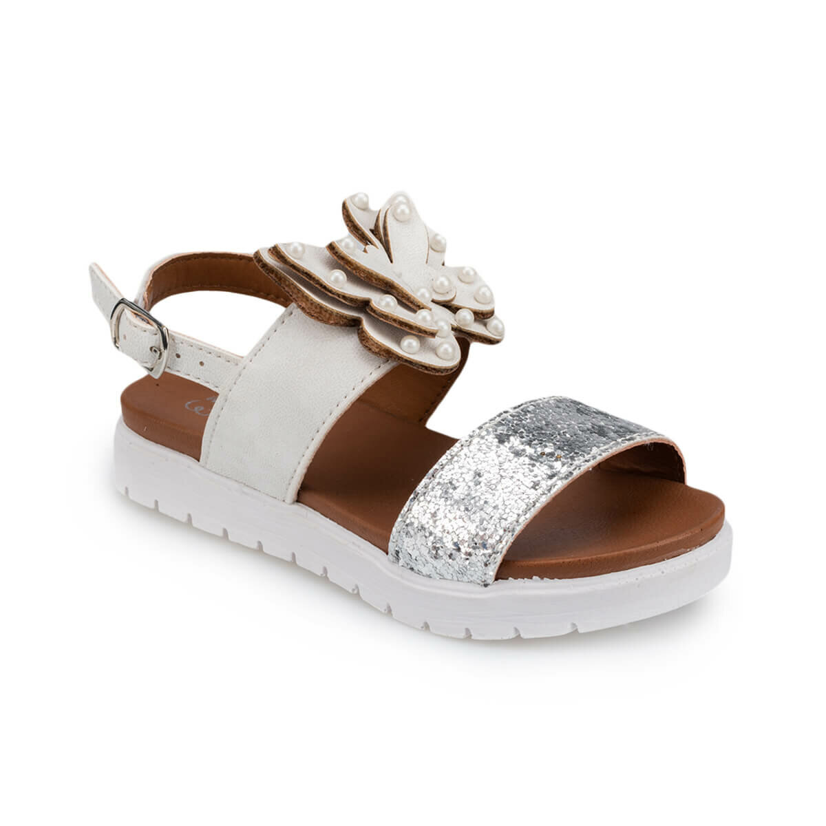 FLO 91.511185.P White Female Child Sandals Polaris