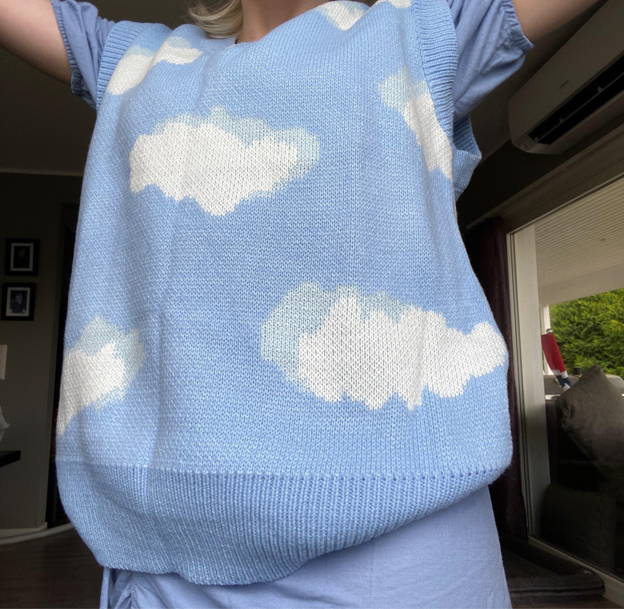 Harajuku Kawaii Pullovers with cloud print long or short sleeves photo review
