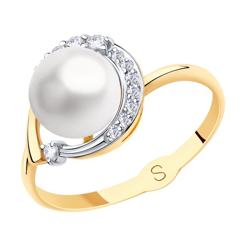 SOKOLOV Ring Gold With Pearls And Cubic Zirkonia