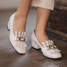 Lottie Black White Beige Patent Leather Short Heel Women Sho