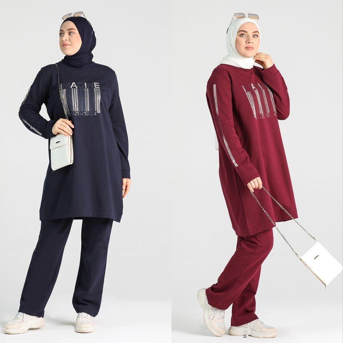 Large Size Stone Printed Tracksuits Flat Unlined Long Sleeve Zero Collar 4 Season Women Muslim Fashion Hijab Clothing Sports Use
